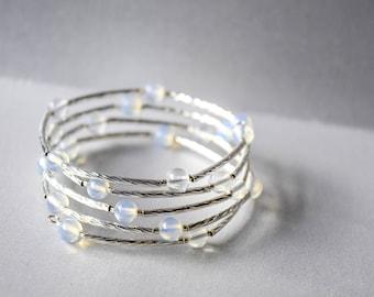 Moonstone and Silver Bracelet, Opalite Bracelet, Silver noodles, Boho Bracelet, Summer Bracelet, Multi Wrap Memory Wire Braclet