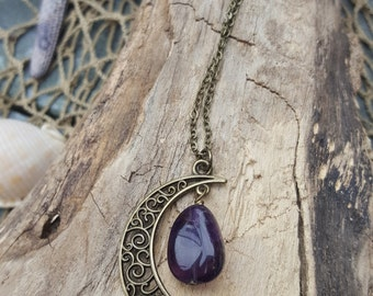 Crescent Moon Necklace - Amethyst Nugget Bead - Bronze Moon Necklace - Boho Necklace - Boho Accessories - Moon Gifts