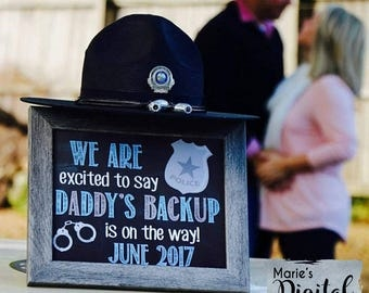 We Are Excited To Say Daddy's Backup Is On The Way! Printable Chalkboard Pregnancy Announcement / Photo Prop / Digital JPEG/ Social Media