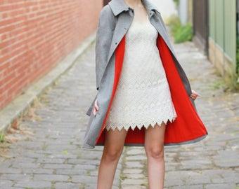 Vintage 1960s Dove Grey Coat / Made in France / Grey Coat / Trench Coat / XS/S