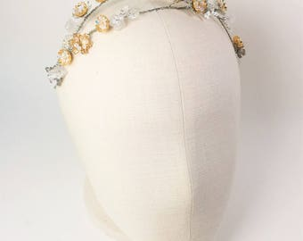 Wedding silver flower headpiece, Bridal silver headpiece, Silver tiara headband, Wedding hair vine,Silver wedding hair accessory.Style:#1015