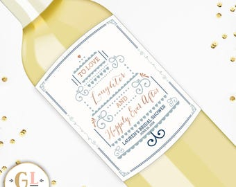 Love Laughter And Happily Ever After Wine Labels, Bridal Shower Champagne Labels, Miss to Mrs. Decorations, Bachelorette Party Wine Labels