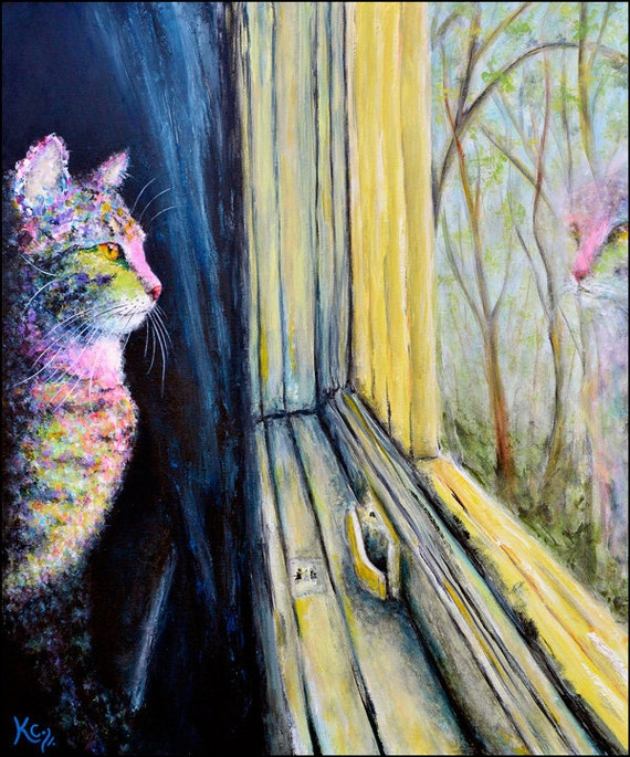 Tabby Cat Wall Art Decor. Cat Lady Gift. Cat Art Print. Cat Looking Out Window. Tabby Cat Art entitled The Observer. Best Cat Lady Gifts!