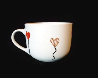 Cup with heart balloons hand paint, coffee cup, tea cup, coffee mug, gift idea, Christmas gift