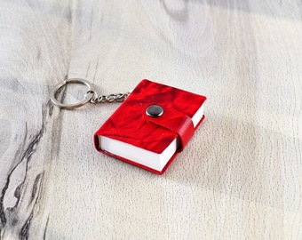 Leather keychain Small book keychain Red leather blank book Mini journal Red gift for girlfriend Red book Leather notebook Small notebook