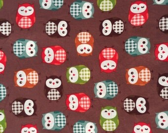 BROWN OWL FABRIC, baby fabric, sweet 100% Cotton Fabric by yard, fat quarter, half yard, yard