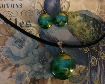 Sunrise by ClaudeMonet  pendant Necklace and Earrings-handmade glass set