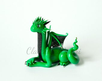 Handmade Polymer Clay Green, Black, and Gold Dragon