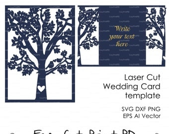 "Bride & Groom Tree Bird wedding card COVER love story Invitation 5x7"" ( svg, dxf, ai, eps, png) laser Stencils diecut paper Digital Download"