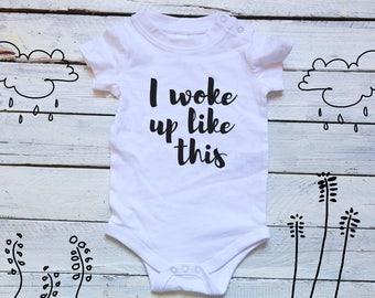 I Woke Up Like This Onesie Baby Shower Gift Woke Up Like Baby Infant Sleep Gown Baby Nightgown Layette Toddler Onesie Woke Up Like Dis Baby