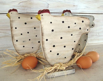 Rustic Wood Spotted Chicken on a Stand - Wood Chicken - Farmhouse Style Decor - Farmhouse Kitchen