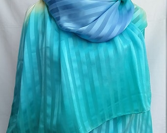XXL Silk scarf in turquoise. light yellow and blue