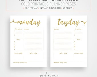A5, Undated printable planner pages, Gold Planner Pages, Organizer inserts, Gold inserts, Planner Pack, Organizer printable