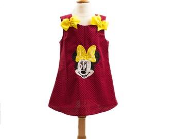 Girl Minnie Aline  birthday outfit, girl Aline applique dress toddler dress baby dress girl Aline dress girl outfit