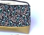 Pochette de sac, Trousse à maquillage - Coton à fleur noir et simili cuir or