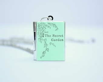 The Secret Garden Book Locket Charm by Frances Hodgson Burnett Jewelry Jewellery Necklace / Bracelet / Keyring / Bookmark with Library Card
