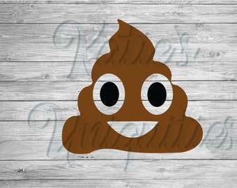 Poop Emoji Emoticon SVG PNG DXF Digital File for use with Cutting Machines Cricut Explore Cameo Silhouette
