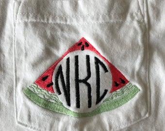 Watermelon Monogram Comfort Colors Shirt