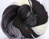 Hand dyed yarn, Black / gray / white, variegated yarn, worsted bulky weight, fingering weight, superwash merino wool, superwash wool / nylon