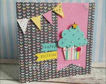Personalised Happy Birthday Cupcake handmade birthday card - birthday