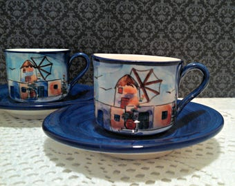 Vintage Set of 2 Greek Demitasse Cups, Mykonos Windmills Souvenir Espresso Cups, Hand Painted, Signed by Artist, Tea Cups, Greek Art Pottery