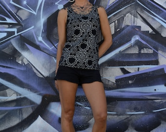 TANK TOP CUBIK all over geometric pattern limited edition print