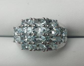 Aquamarine Sterling Silver Ring, Natural Gemstone Ring, March Birthstone Ring