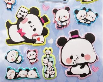 SUPER PUFFY Japanese mochi panda stickers! kawaii panda cubs, chubby baby panda, cute stickers, cute puffy stickers, kawaii stickers, kawaii