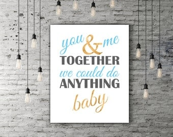 DMB You And Me Together Dave Matthews Band Poster, Song Art, You And Me Lyrics, Dave Matthews Art, Music Quote, DMB Lyrics, Typography Print