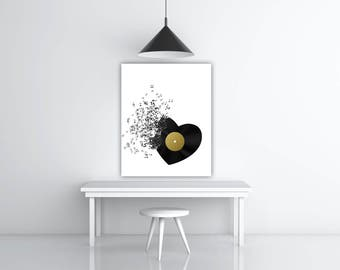 Music Notes Record Art, Music Lover Gift, Black White Gold Foil Art Print, Music Note Art, Black Heart Decoration, Musician Gift Treble Clef