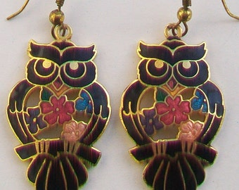 Cloisonne Guilloche Enamel Owls Earrings