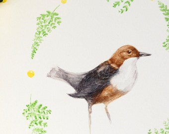 Original bird watercolor painting, Botanical watercolor bird, Nordic style decor, Water Blackbird watercolor, Art Nature, minimal home decor