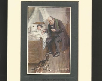 1910  children print signed in print by illustrator C E Brock. antique children print wall art