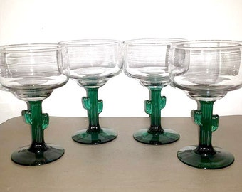 Cactus Stem Margarita Glass, set of 4,Libbey,Cozumel,Margarita Glass,Cactus Stemware,Libbey Margarita Glass,Southwest,Cactus,Cinco De Mayo