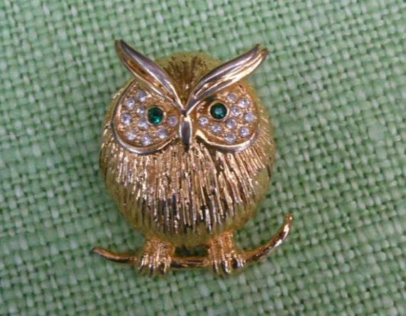 SALE 20 % Off.....Owl BROOCH - CORO - Vintage Retro - Signed - Rhinestone brooch - 1970's - Gift Bag