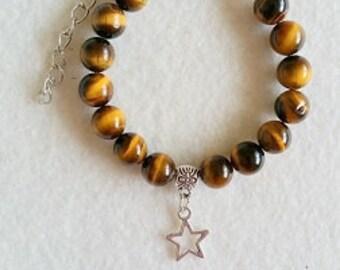 Tiger Eye bracelet with charm