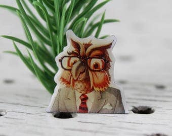 Vintage Professor Owl in Enamel Pin Retro Vintage Mid Century Brooch Jewelry from ancient times badge