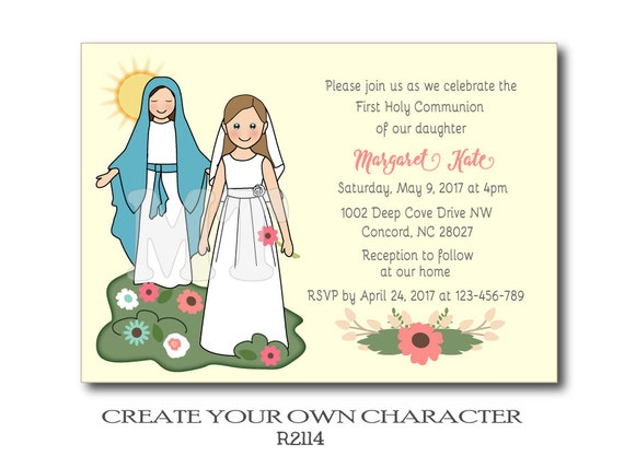 DIY First Communion invitations for girls Virgin Mary Holy – Communion Party Invitations