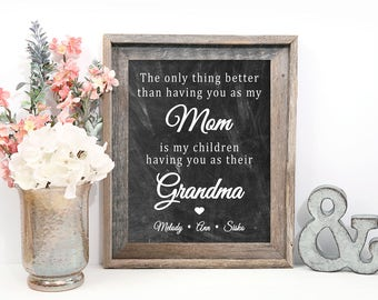Mothers Day Gift for Grandma, Chalkboard Print, Personalized with Nanna, Mimi, Nana, or any other name