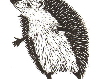"Handmade Signed Lino Print ""Hedge Hug"", for those who love Hedgehogs and those who love Hugs! By Laura Robertson."