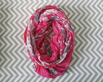 Floral Ruffled Infinity Scarf (5 Colors: Blue, Orange, White, Black & Pink)