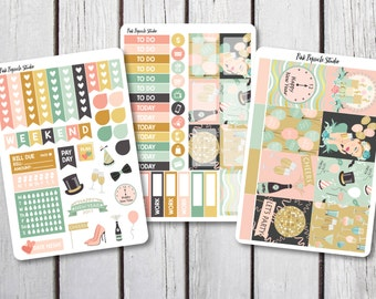 50% OFF - New Years Eve Weekly Kit Planner Stickers Designed for Erin Condren Life Planner Vertical