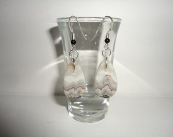 Crazy Lace, Sterling Silver Dangle Wire Earrings
