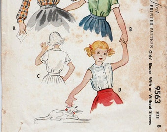 Vintage Girls Blouse Pattern McCALLS 9563 Girls Size 8 Blouse 1950s Blouse Peter Pan Collar Girls Retro Blouse 50s Blouse Pattern