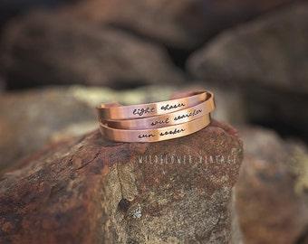 Copper Cuff Bracelet | Boho Jewelry Light Chaser Soul Searcher Sun Seeker Photographer Gift Script Handstamped