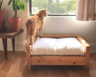 Small Cat Bed - Cat Bed - Raised Cat Bed - Washable Cat Bed - Wooden Cat Bed - Cat Furniture - Modern Cat Bed - Elevated Dog Bed
