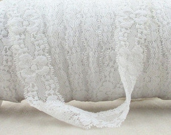 1 Yard - 7/8 inch - White Lace Elastic for Baby Headband
