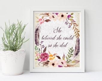 Boho Nursery Print, She Believed She Could So She Did, Floral Wall Art, Home Decor, Nursery Art, Boho Watercolor Wreath, Feathers and Flower
