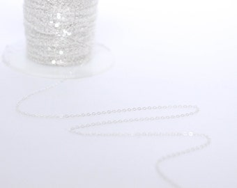 Sterling Silver Chain by the Foot - 1.3mm Flat Cable Chain - Thin Chain - Delicate Chain - Wholesale Chain - Custom Length / SS-CH005