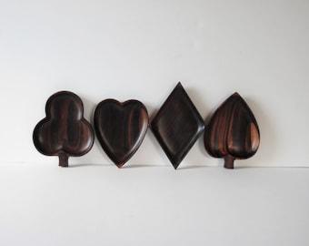 Wooden serving bowls Wooden Bowls Mid Century Wooden Bowls Suit Snack dishes Wooden Serving Playing Cards Heart Spade Diamond Club